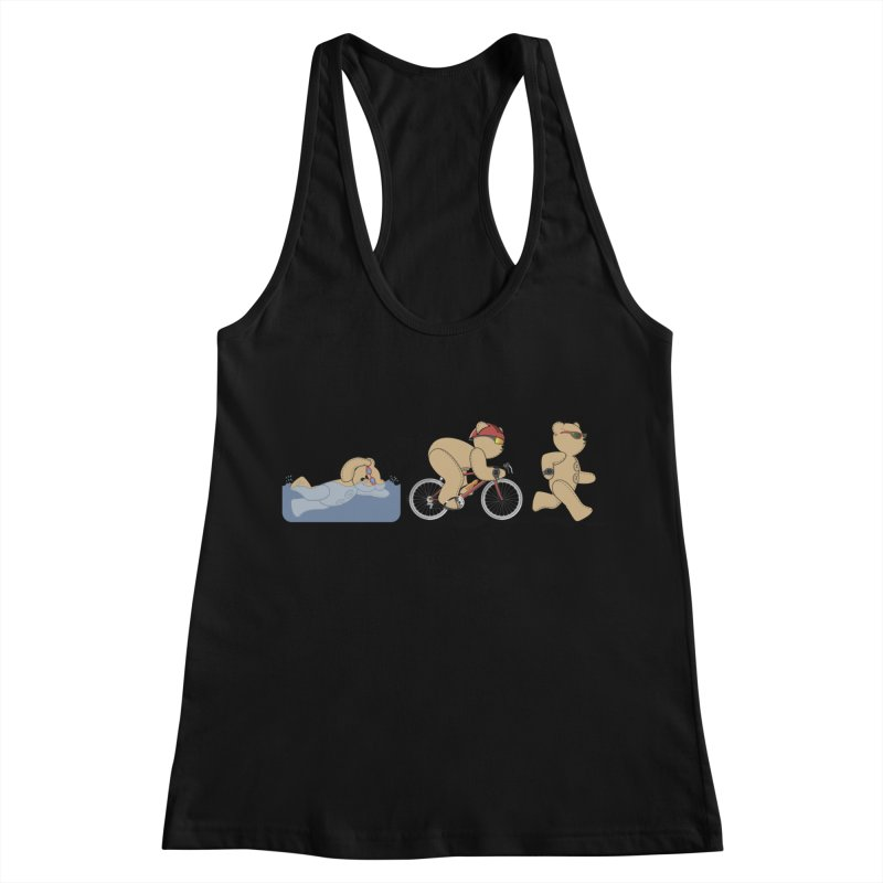 Triathlon Bear Women's Racerback Tank by grumpyteds's Artist Shop