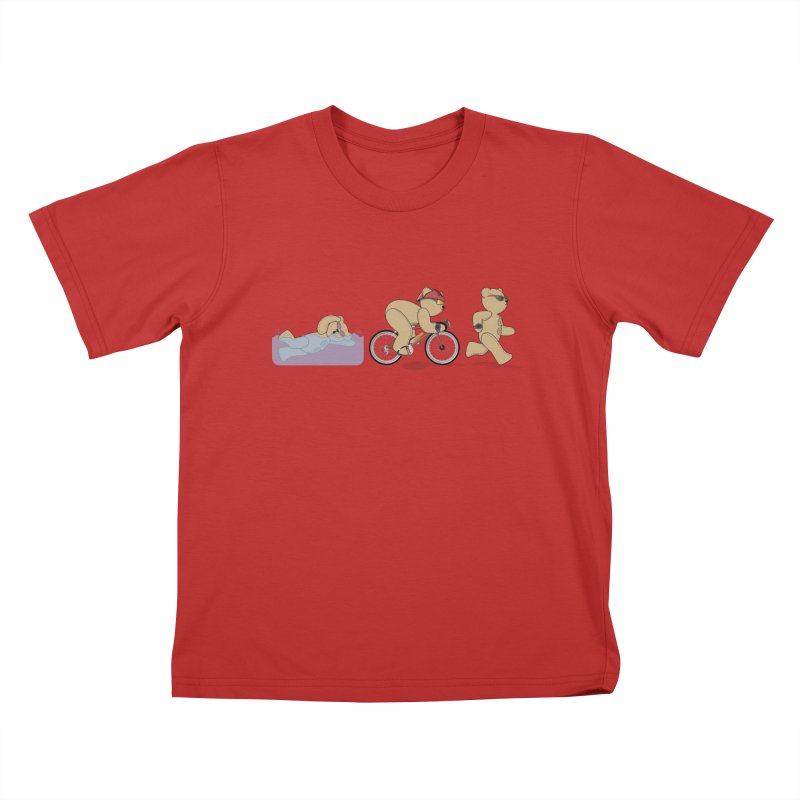 Triathlon Bear Kids T-Shirt by grumpyteds's Artist Shop