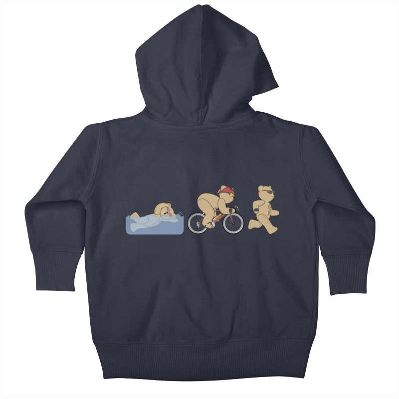 Triathlon Bear Kids Baby Zip-Up Hoody by grumpyteds's Artist Shop