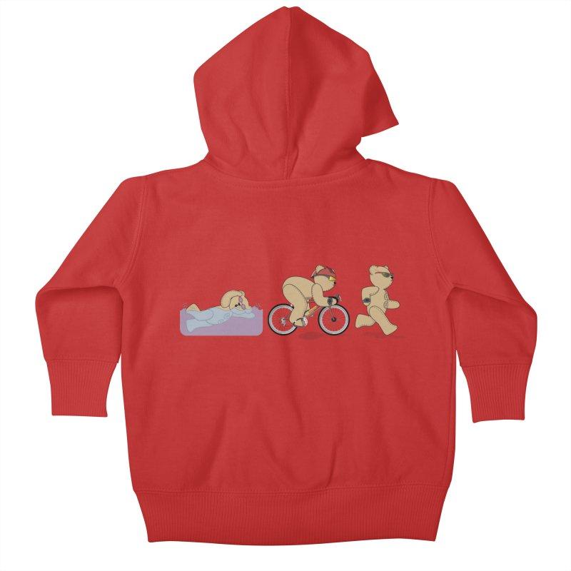 Triathlon Bear Kids Baby Zip-Up Hoody by grumpyteds's Artist Shop