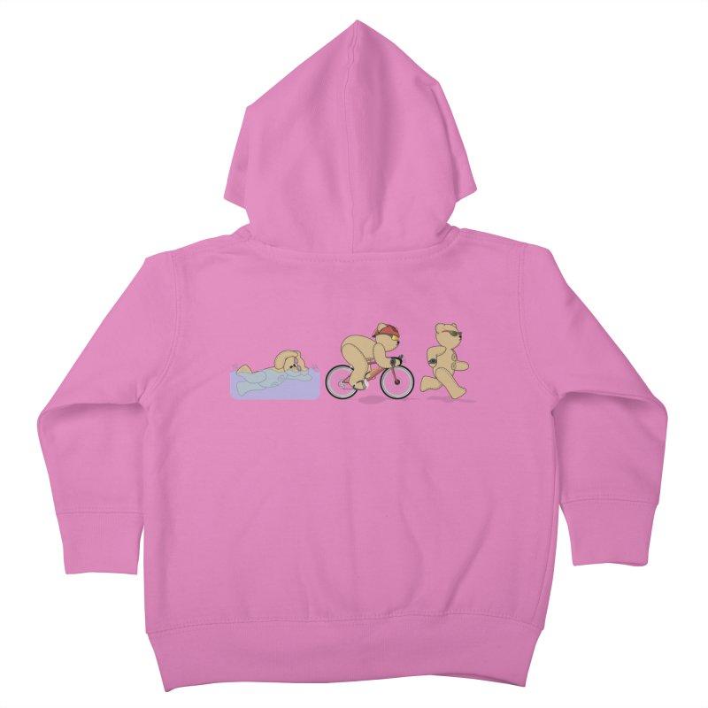 Triathlon Bear Kids Toddler Zip-Up Hoody by grumpyteds's Artist Shop