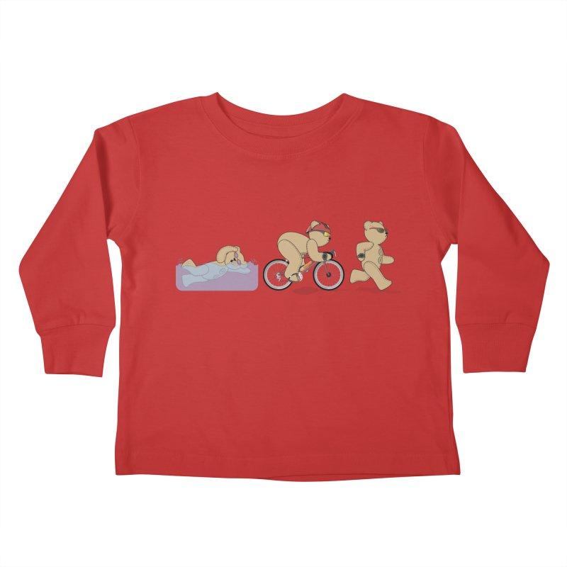 Triathlon Bear Kids Toddler Longsleeve T-Shirt by grumpyteds's Artist Shop
