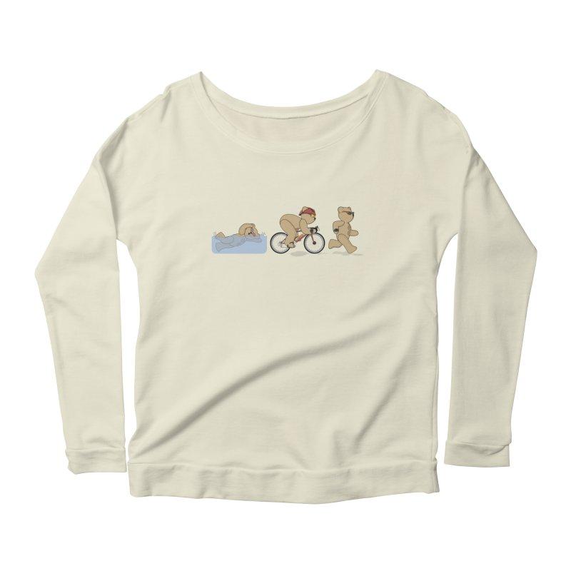 Triathlon Bear Women's Scoop Neck Longsleeve T-Shirt by grumpyteds's Artist Shop