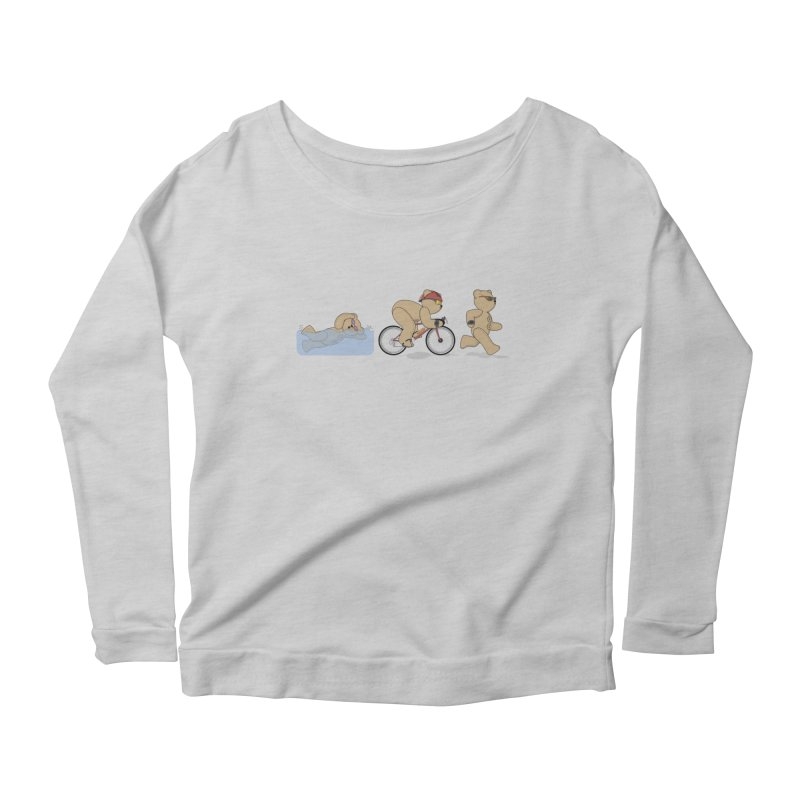 Triathlon Bear Women's Scoop Neck Longsleeve T-Shirt by grumpyteds's Artist Shop