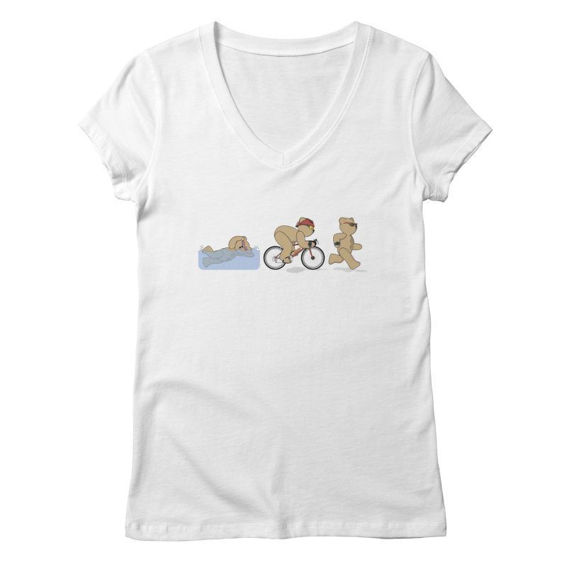 Triathlon Bear Women's Regular V-Neck by grumpyteds's Artist Shop