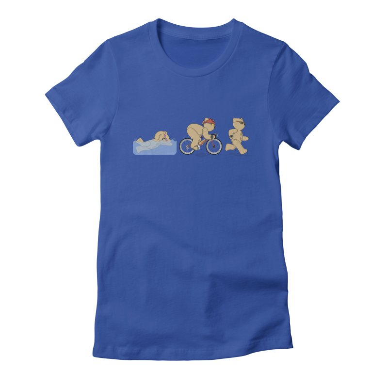 Triathlon Bear Women's Fitted T-Shirt by grumpyteds's Artist Shop
