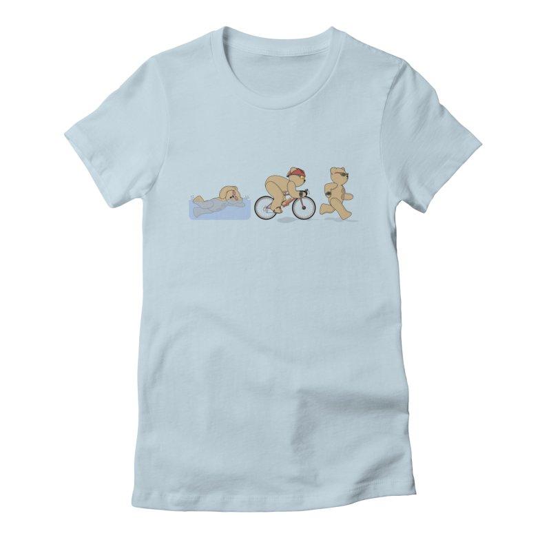 Triathlon Bear Women's Fitted T-Shirt by grumpyteds's Artist Shop