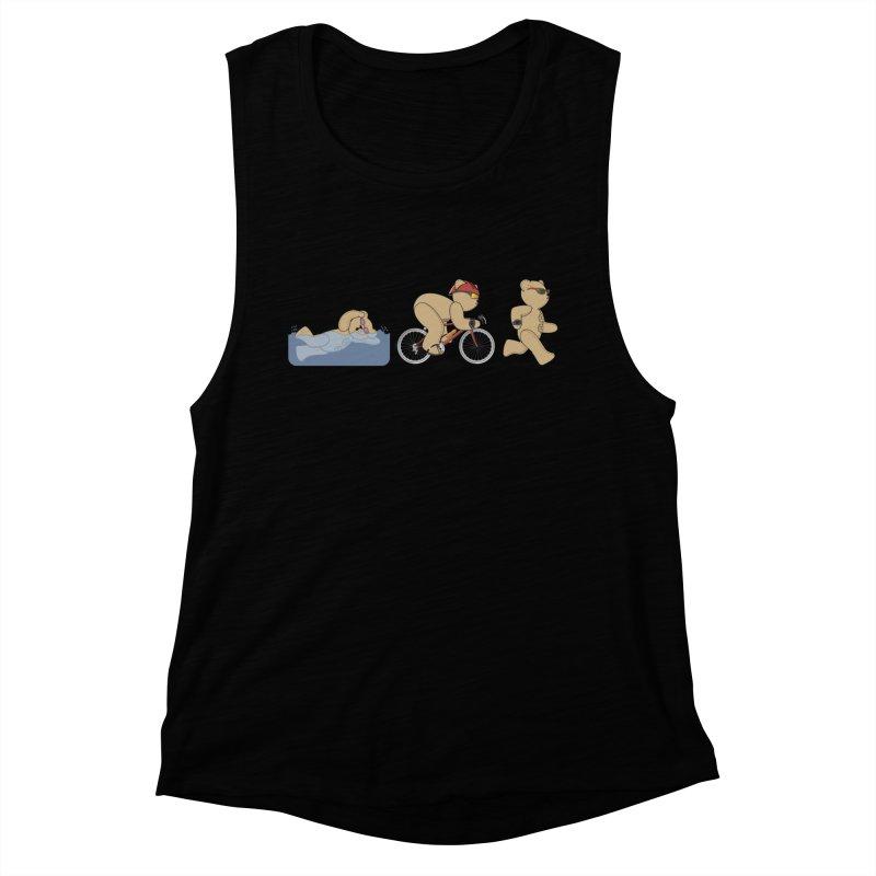 Triathlon Bear Women's Muscle Tank by grumpyteds's Artist Shop