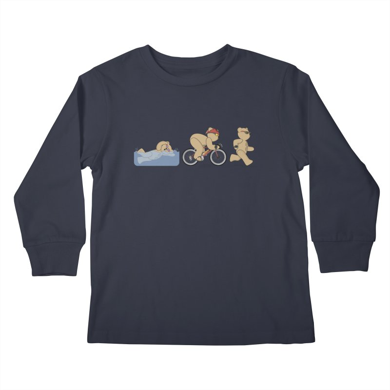 Triathlon Bear Kids Longsleeve T-Shirt by grumpyteds's Artist Shop