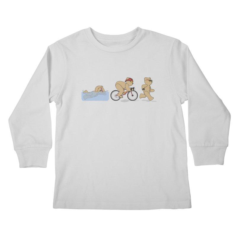 Triathlon Bear Kids Longsleeve T-Shirt by grumpyteds's Artist Shop