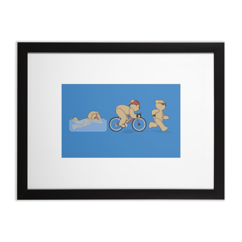 Triathlon Bear Home Framed Fine Art Print by grumpyteds's Artist Shop