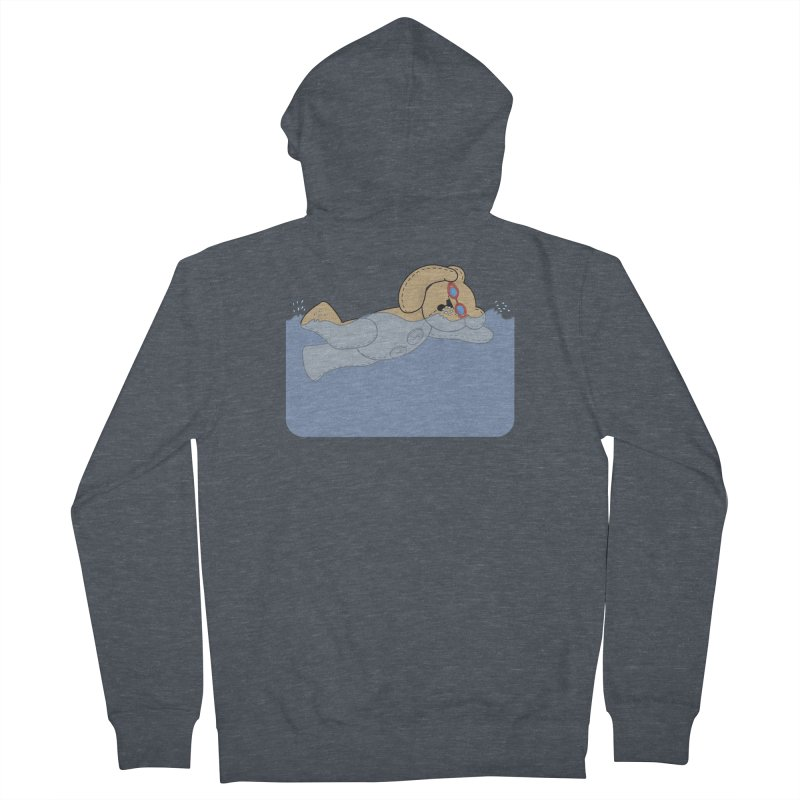 Swimming Bear Men's French Terry Zip-Up Hoody by grumpyteds's Artist Shop