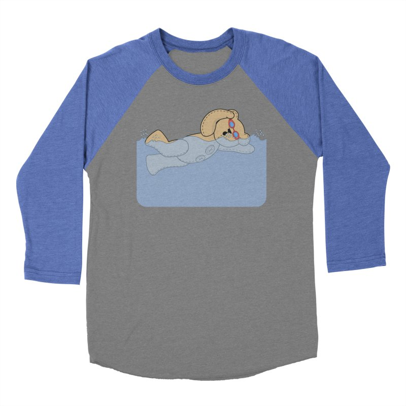 Swimming Bear Men's Baseball Triblend Longsleeve T-Shirt by grumpyteds's Artist Shop