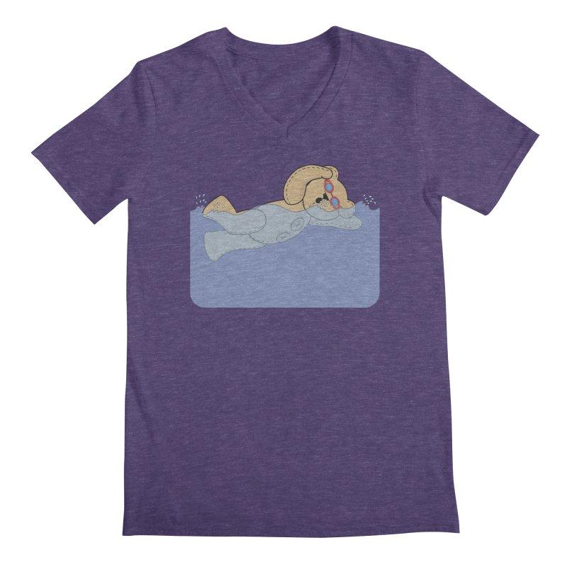 Swimming Bear Men's Regular V-Neck by grumpyteds's Artist Shop