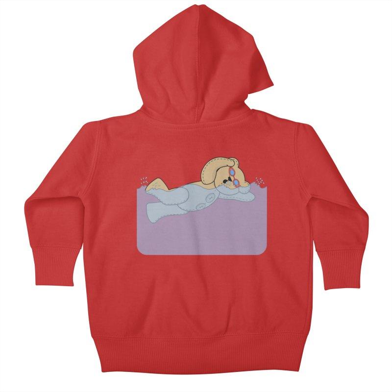 Swimming Bear Kids Baby Zip-Up Hoody by grumpyteds's Artist Shop