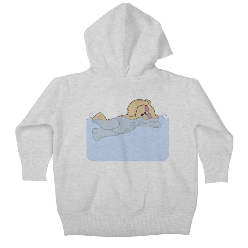 Swimming Bear Kids Baby Zip-Up Hoody by grumpyteds's Artist Shop