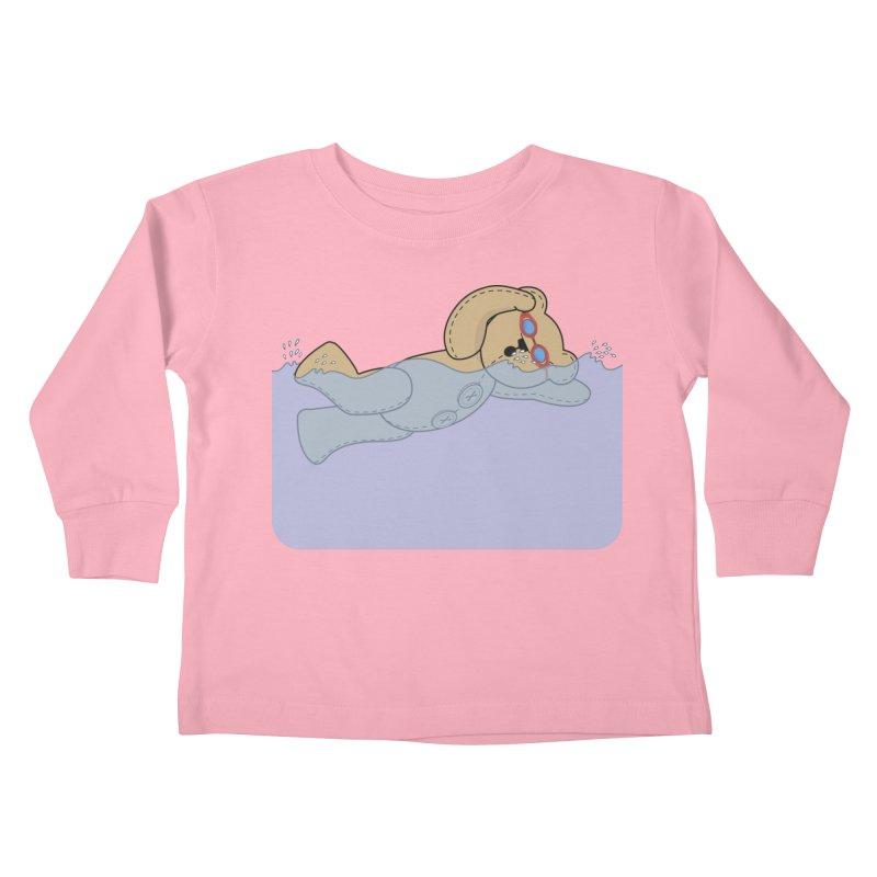 Swimming Bear Kids Toddler Longsleeve T-Shirt by grumpyteds's Artist Shop