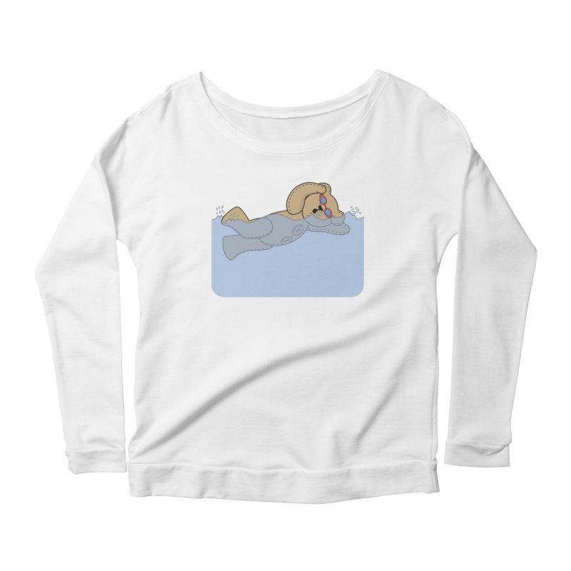 Swimming Bear Women's Scoop Neck Longsleeve T-Shirt by grumpyteds's Artist Shop