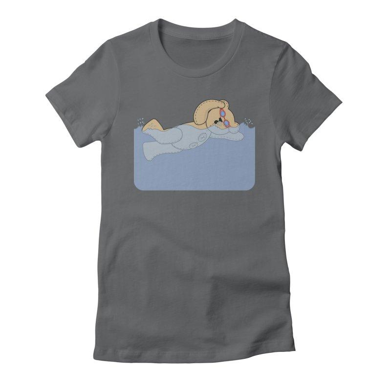 Swimming Bear Women's Fitted T-Shirt by grumpyteds's Artist Shop