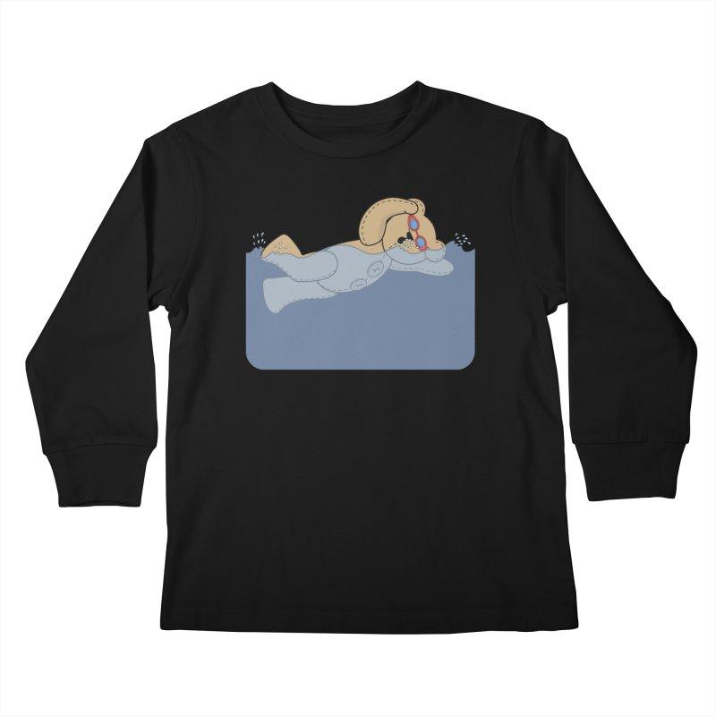 Swimming Bear Kids Longsleeve T-Shirt by grumpyteds's Artist Shop