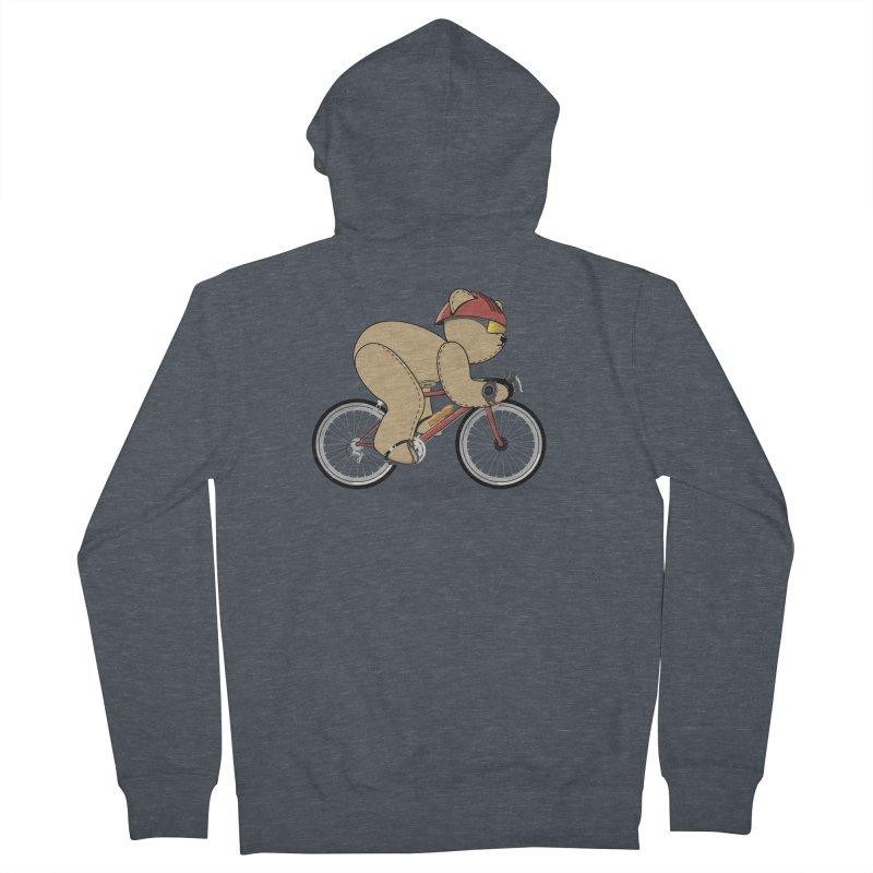 Cycling Bear Women's French Terry Zip-Up Hoody by grumpyteds's Artist Shop