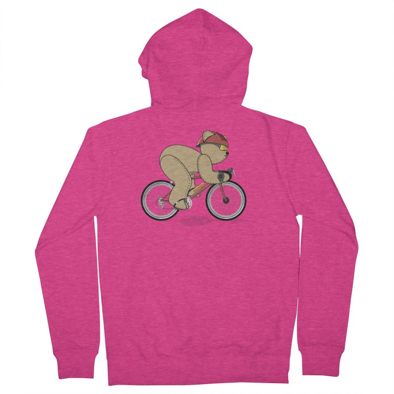 Cycling Bear Women's French Terry Zip-Up Hoody by grumpyteds's Artist Shop