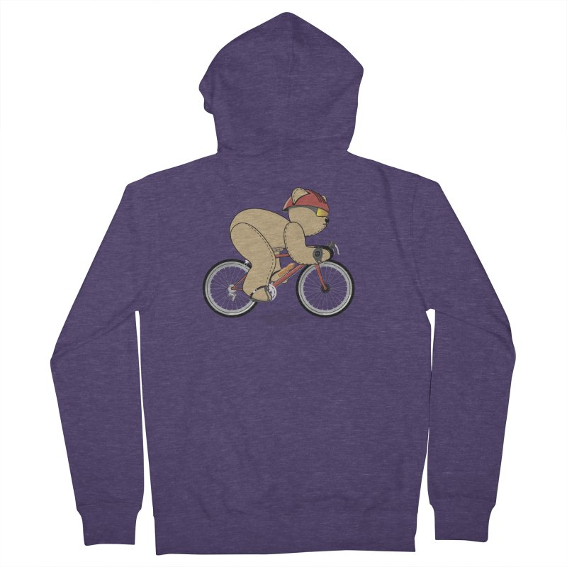 Cycling Bear Men's French Terry Zip-Up Hoody by grumpyteds's Artist Shop