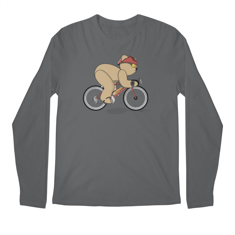Cycling Bear Men's Longsleeve T-Shirt by grumpyteds's Artist Shop