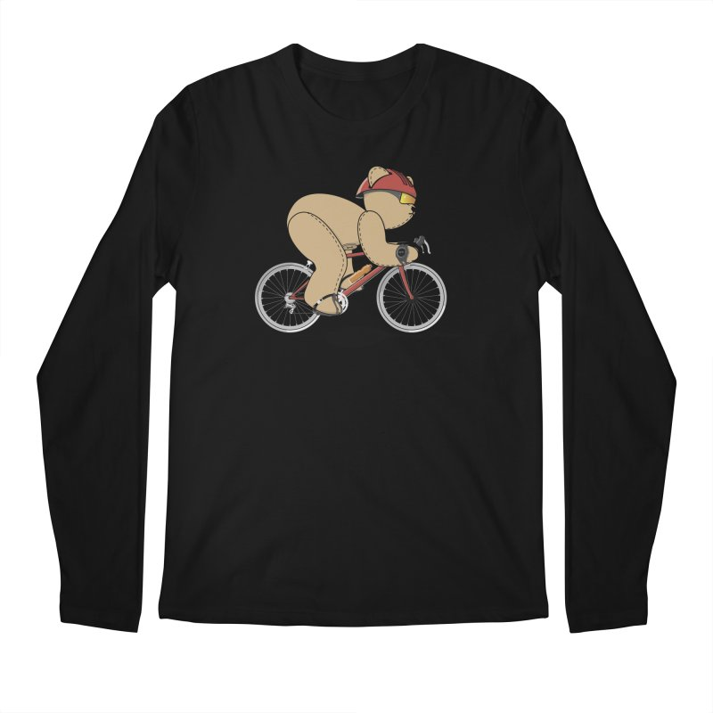 Cycling Bear Men's Regular Longsleeve T-Shirt by grumpyteds's Artist Shop