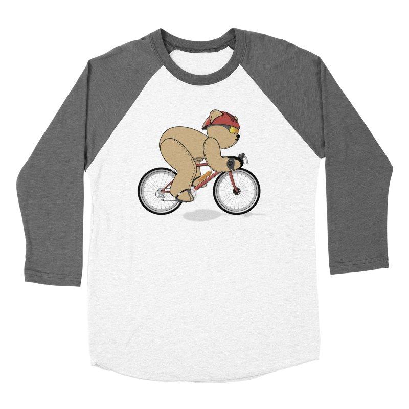 Cycling Bear Men's Baseball Triblend Longsleeve T-Shirt by grumpyteds's Artist Shop