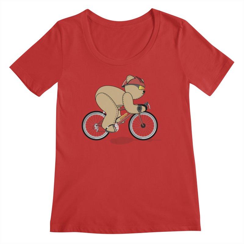Cycling Bear Women's Regular Scoop Neck by grumpyteds's Artist Shop