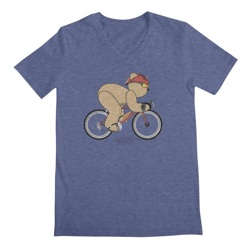 Cycling Bear Men's V-Neck by grumpyteds's Artist Shop