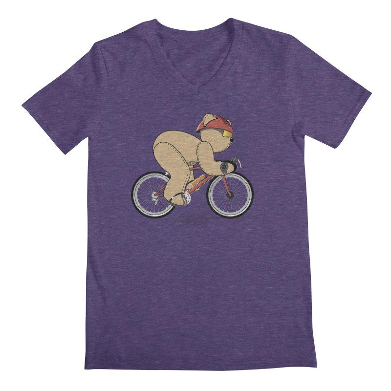 Cycling Bear Men's Regular V-Neck by grumpyteds's Artist Shop