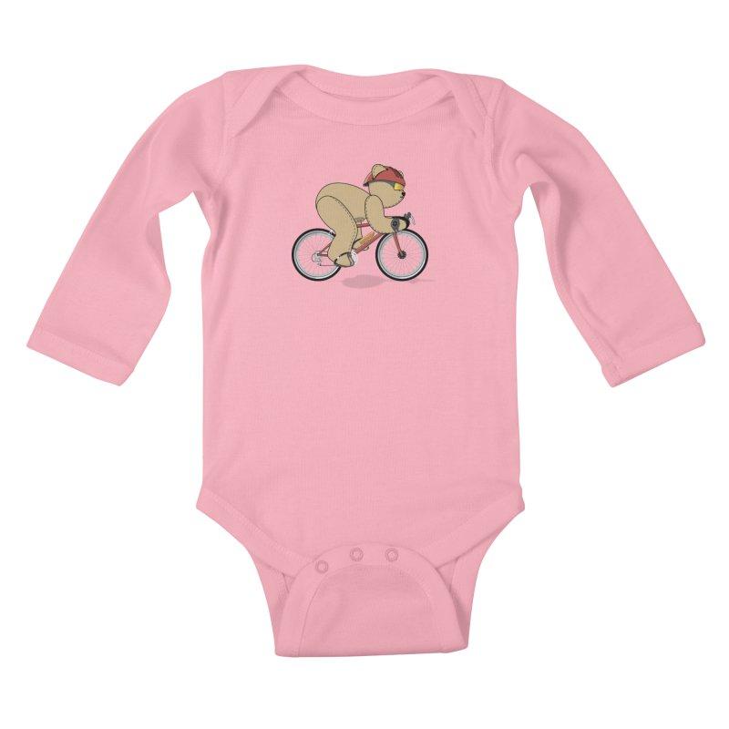 Cycling Bear Kids Baby Longsleeve Bodysuit by grumpyteds's Artist Shop