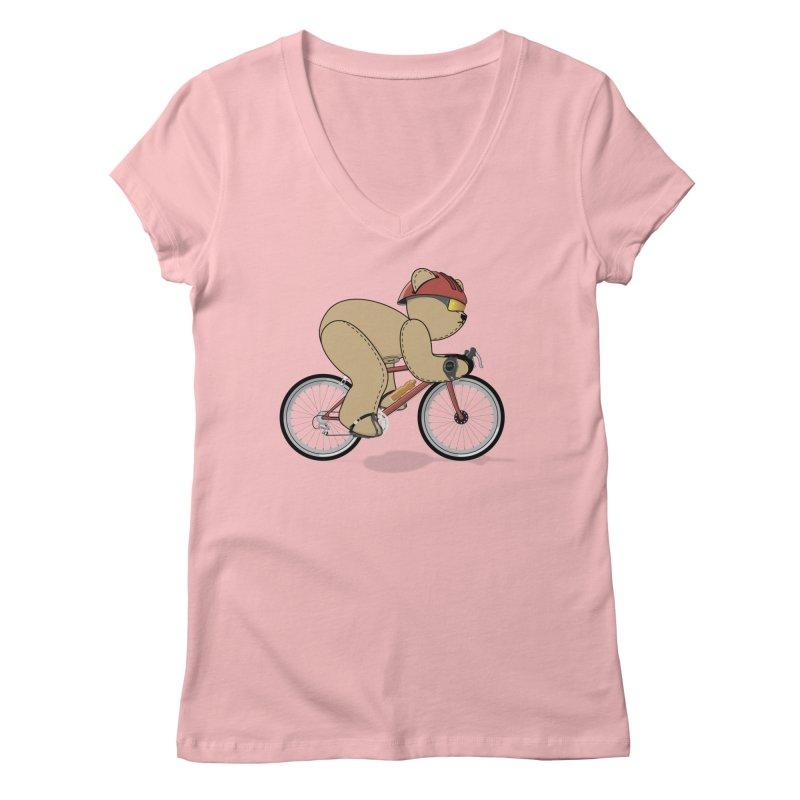 Cycling Bear Women's V-Neck by grumpyteds's Artist Shop