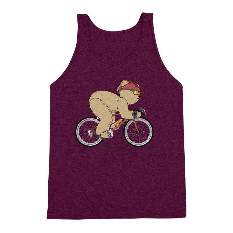 Cycling Bear Men's Triblend Tank by grumpyteds's Artist Shop