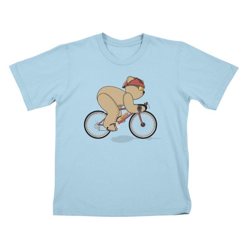 Cycling Bear Kids T-Shirt by grumpyteds's Artist Shop