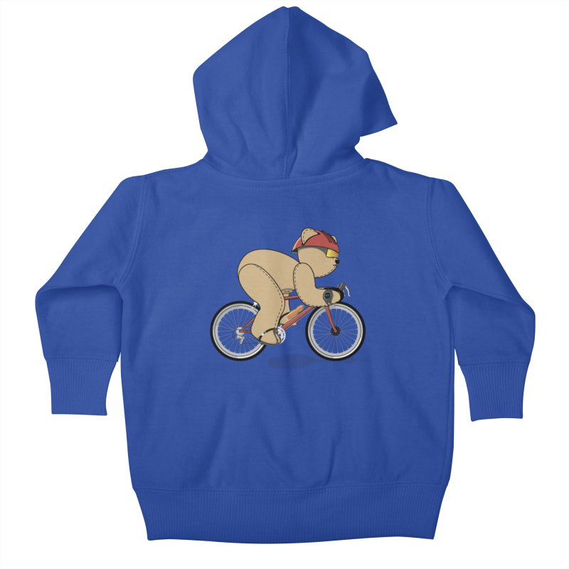 Cycling Bear Kids Baby Zip-Up Hoody by grumpyteds's Artist Shop