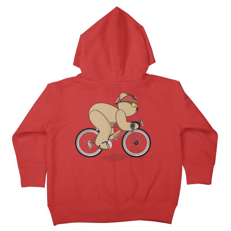 Cycling Bear Kids Toddler Zip-Up Hoody by grumpyteds's Artist Shop