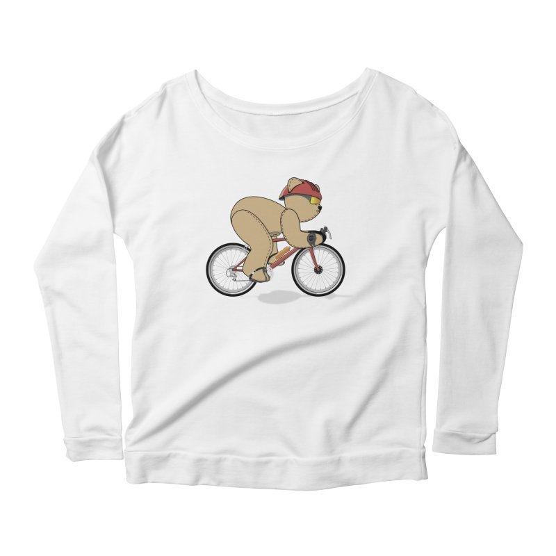 Cycling Bear Women's Scoop Neck Longsleeve T-Shirt by grumpyteds's Artist Shop