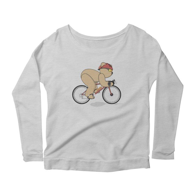 Cycling Bear Women's Scoop Neck Longsleeve T-Shirt by grumpyteds's Artist Shop