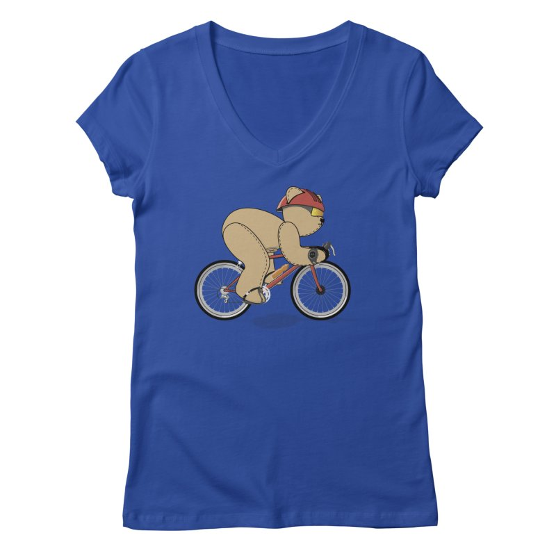 Cycling Bear Women's Regular V-Neck by grumpyteds's Artist Shop