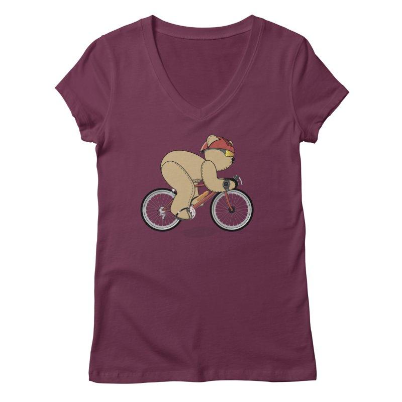 Cycling Bear Women's Regular V-Neck by grumpyteds's Artist Shop