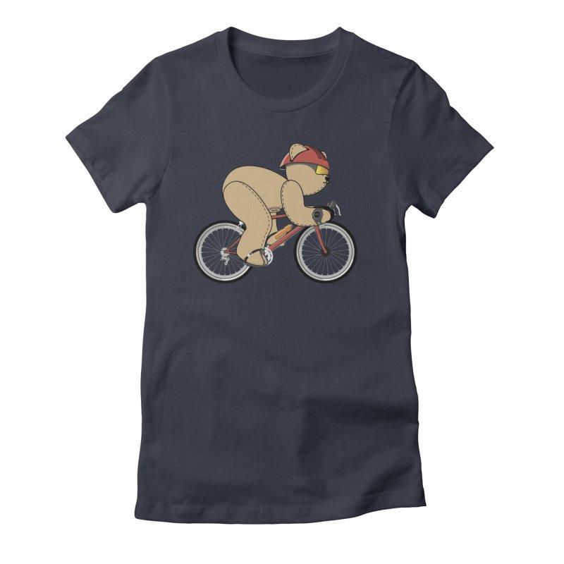 Cycling Bear Women's Fitted T-Shirt by grumpyteds's Artist Shop