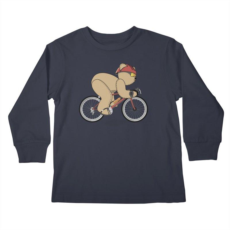Cycling Bear Kids Longsleeve T-Shirt by grumpyteds's Artist Shop