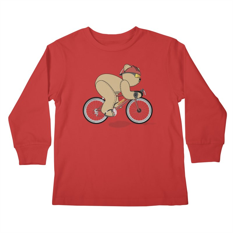 Cycling Bear Kids Longsleeve T-Shirt by grumpyteds's Artist Shop