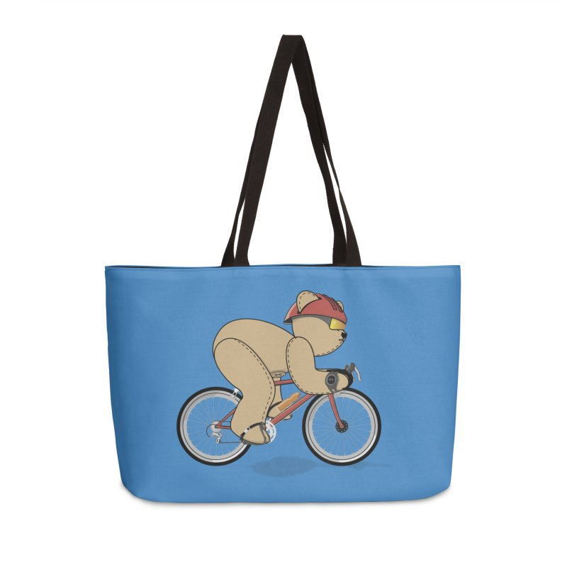 Cycling Bear Accessories Weekender Bag Bag by grumpyteds's Artist Shop