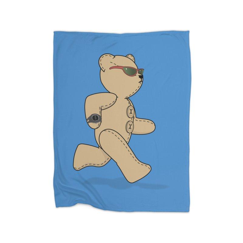 Running Bear Home Fleece Blanket Blanket by grumpyteds's Artist Shop