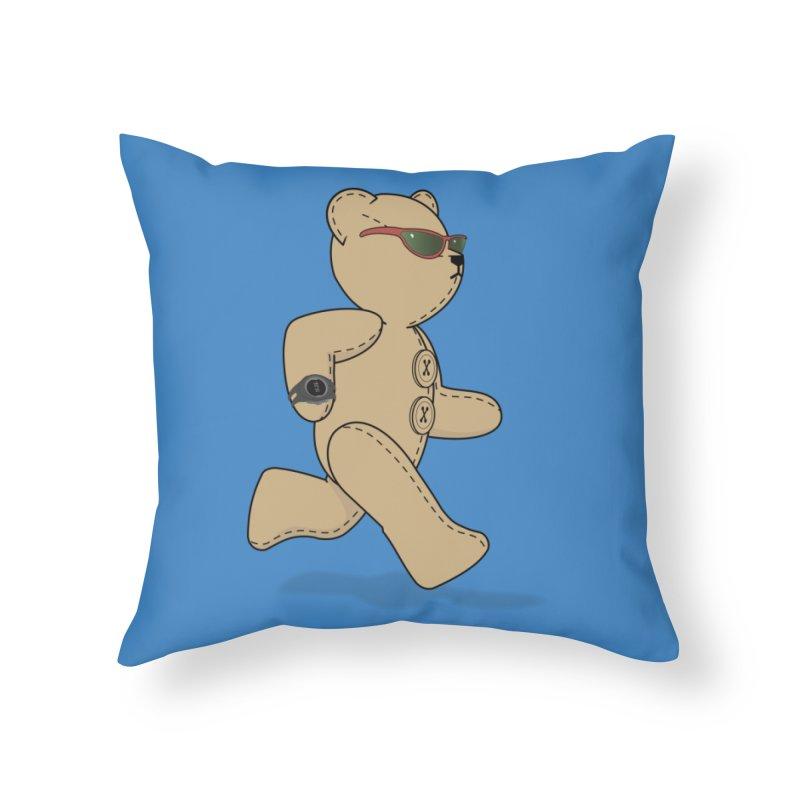Running Bear Home Throw Pillow by grumpyteds's Artist Shop