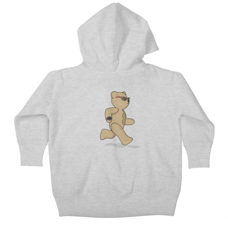Running Bear Kids Baby Zip-Up Hoody by grumpyteds's Artist Shop
